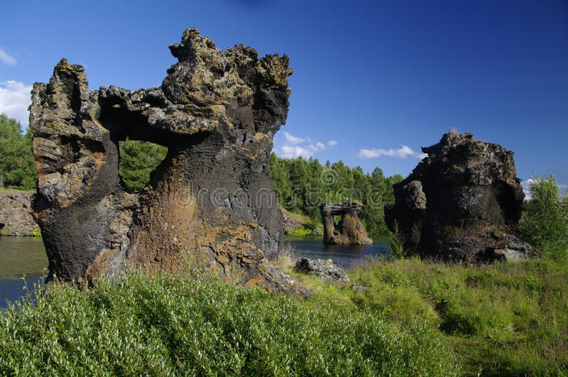 Lava formation at Myvatn, Iceland. Lava formation at lake Myvatn, Iceland royalty free stock images