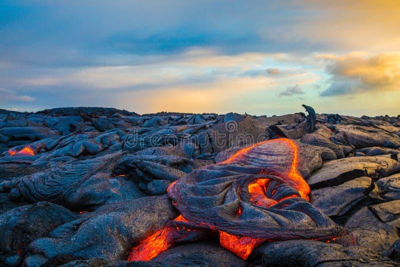 Lava on Hawaii`s Big Island. Lava flows to create new island on the Big Island of Hawaii stock photography