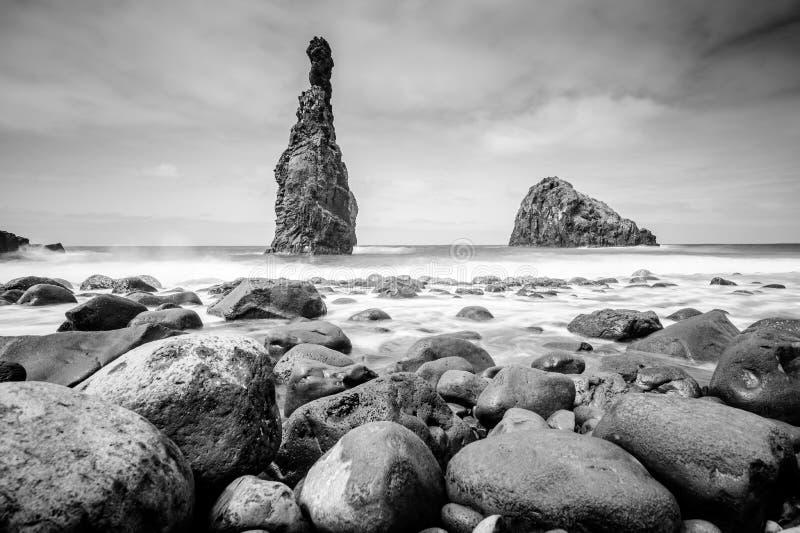 Lava islets in Ribeira da Janela at stony beach - Wild and beautiful coast with rock formations in the ocean near Porto Moniz on. The island Madeira, Portugal royalty free stock photos