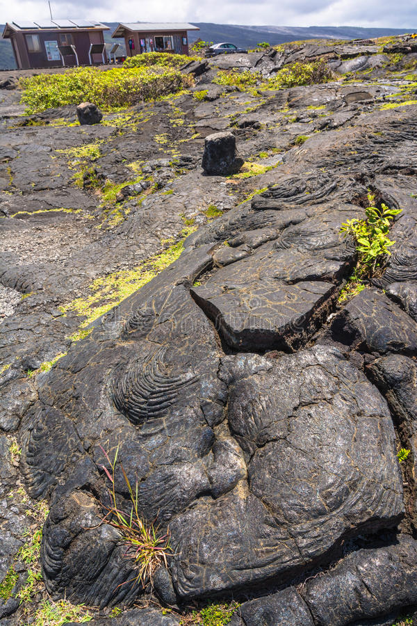 Lava längs kedjan av krater väg, Hawaii arkivfoton