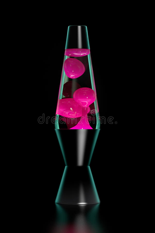 Lava lamp. Pink lava lamp on black background. Dark key royalty free stock image