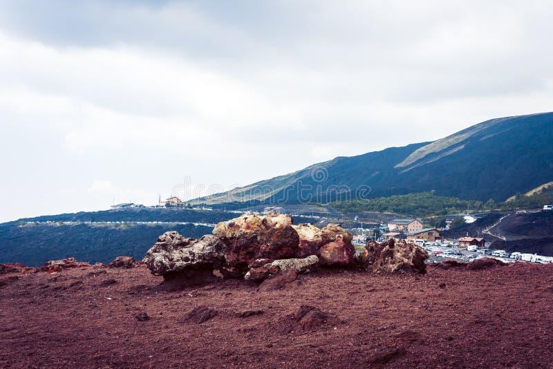 Lava på Mount Etna, aktiv vulkan på ostkusten av Sicilien, Italien arkivbild