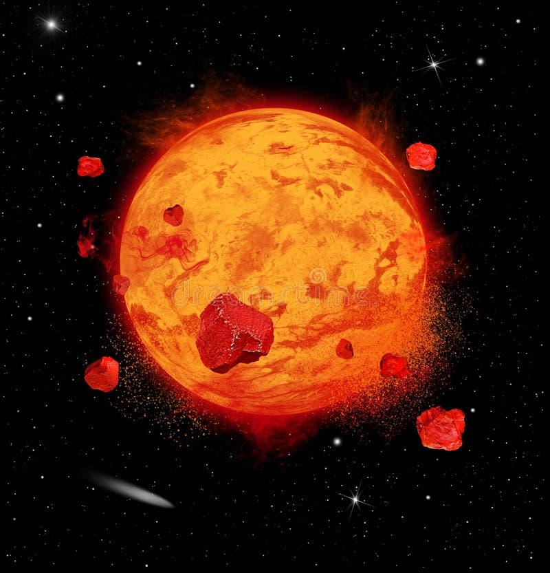 Lava Planet Exploding stock photo