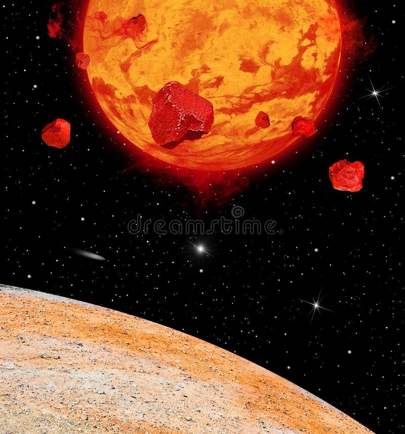 Lava Planet Viewed From and Angle on its Moon royalty free stock photos