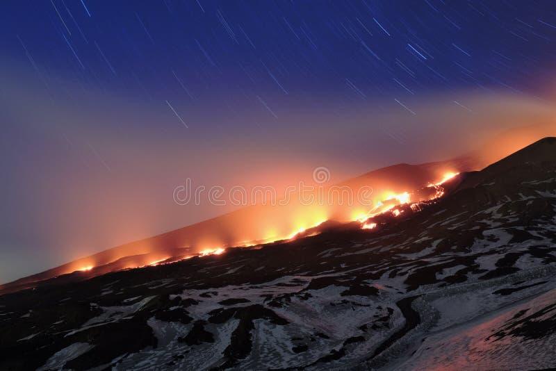 Lava River On Etna Park vermelho, Sicília foto de stock royalty free