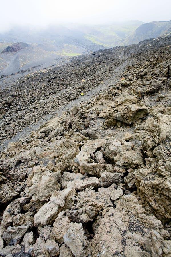 Lava rocks close up on slope of Etna