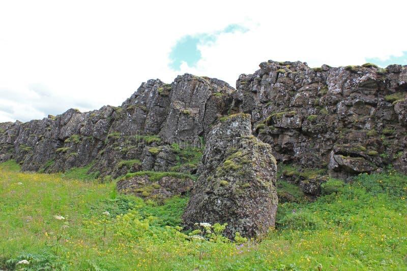 Lava rocks in the thingvellir national park stock photo