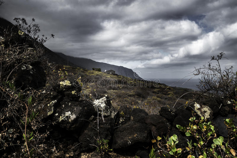 Lava stone house in el hierro in the landscape. El golfo royalty free stock images