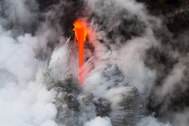 Lava stream Kamokuna ocean entry Feb 2017 stock photo