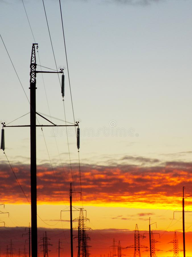 Lava Sunset /Powerlines fotografia de stock