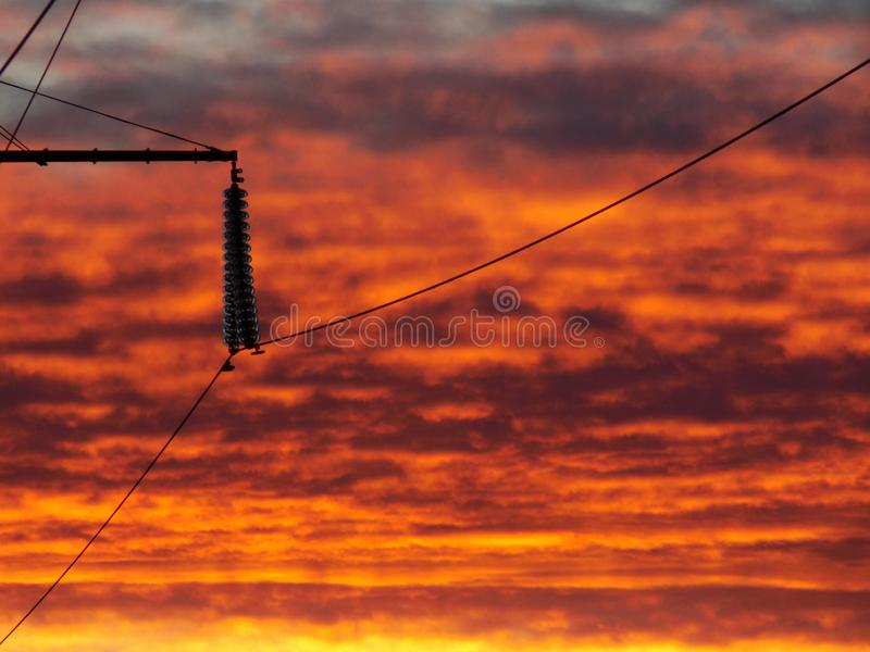 Lava Sunset /Powerlines imagem de stock royalty free