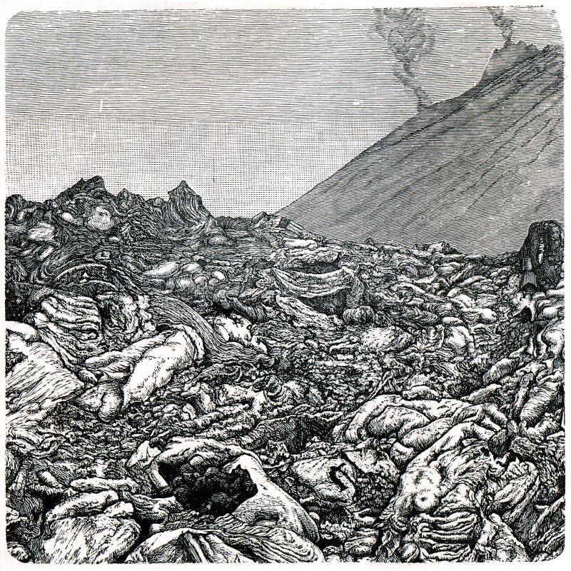 Lava torcida do Vesúvio imagem de stock