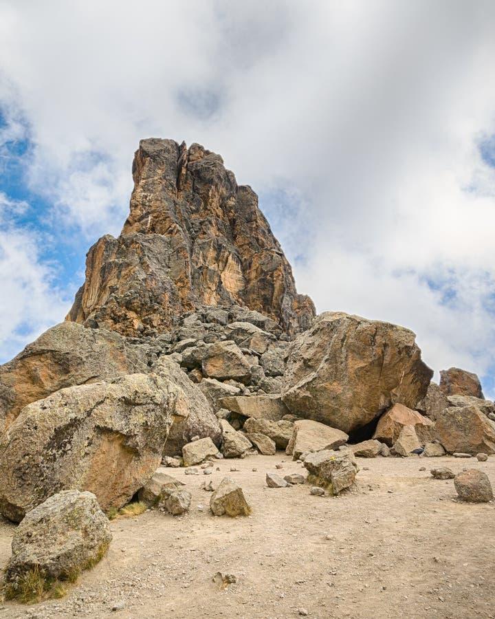 Lava Tower, parque nacional de Kilimanjaro, Tanzânia, África imagens de stock