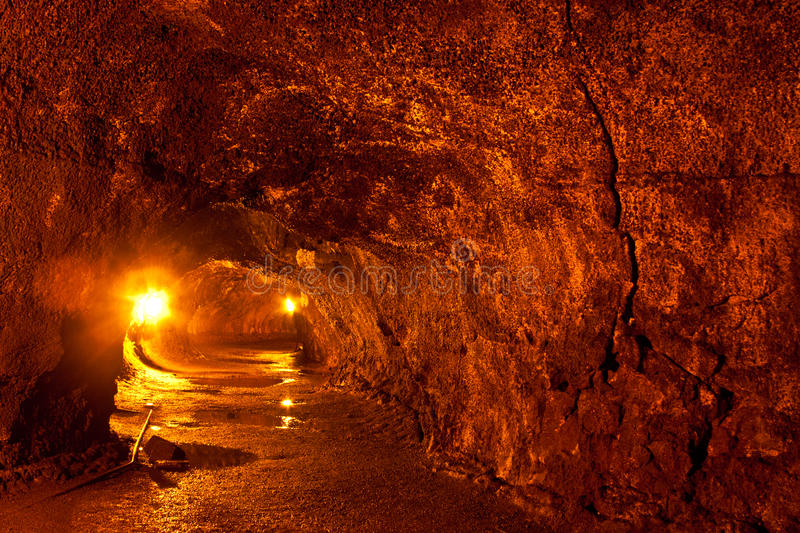 Lava Tube. View from inside a lava tube in Hawaii Volcanoes National Park royalty free stock photography