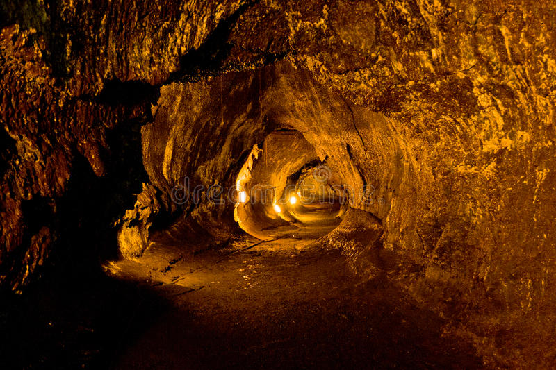 Lava Tube in Hawaii Volcanoes National Park. stock image