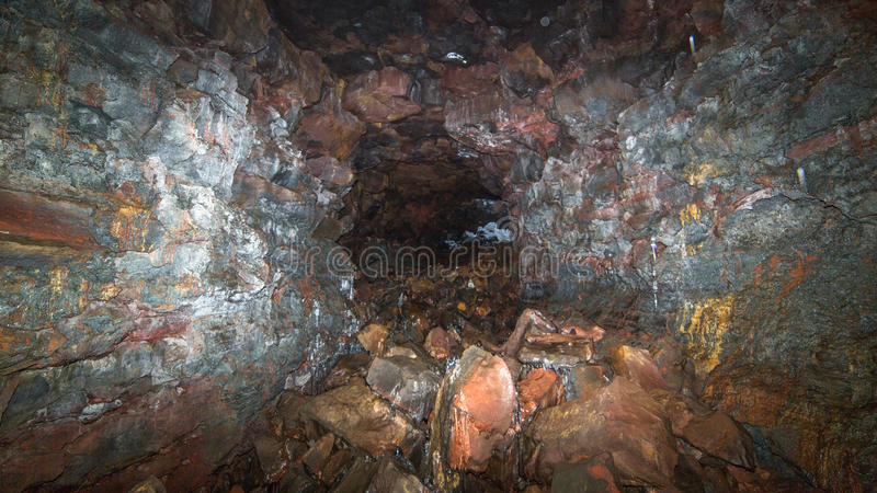 Download A lava tube tunnel stock image. Image of black, brown - 29048353