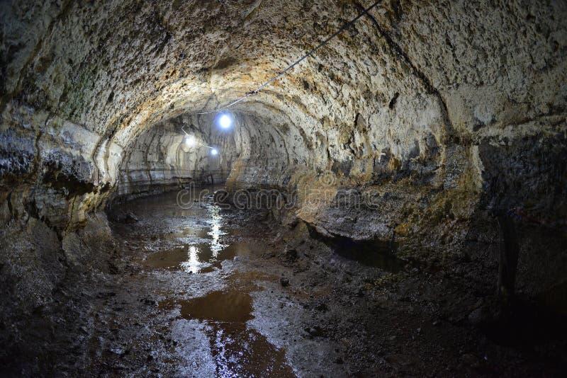 Lava Tunnel, de Eilanden van de Galapagos, Ecuador royalty-vrije stock foto's