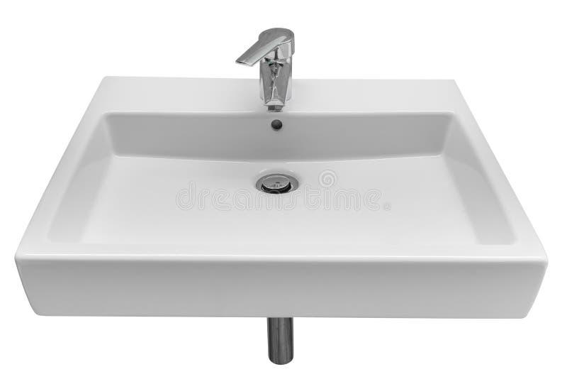 Lavabo bianco isolato su fondo bianco fotografie stock