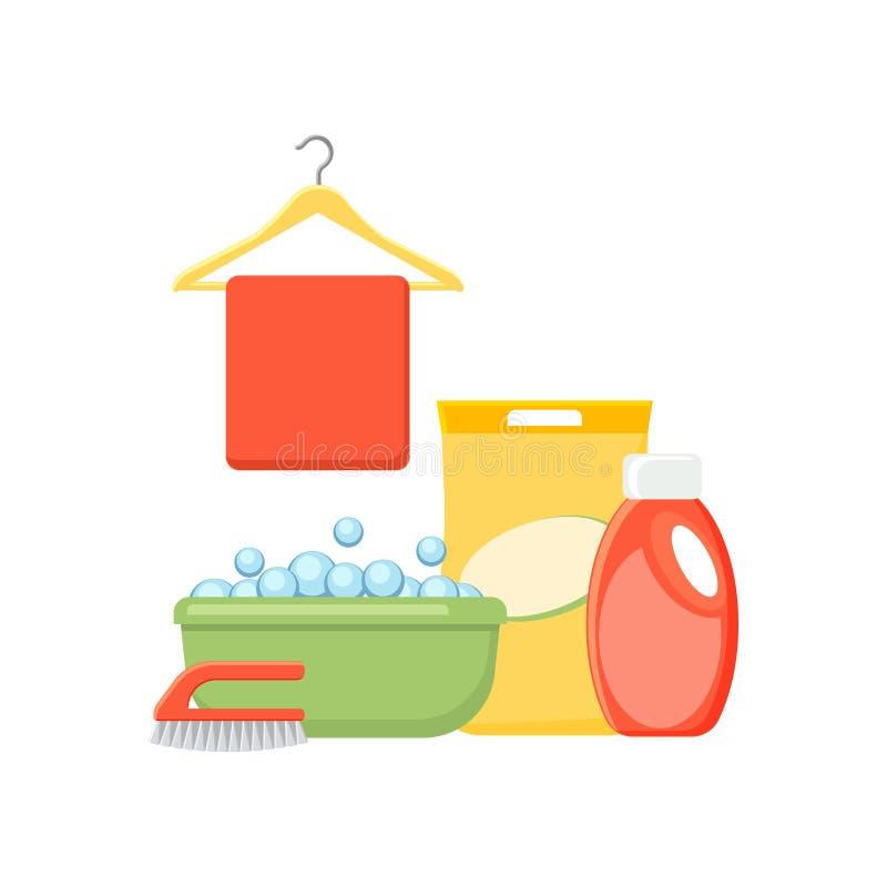 Lavabo, burbujas, detergentes, paño, y vecto del cepillo libre illustration