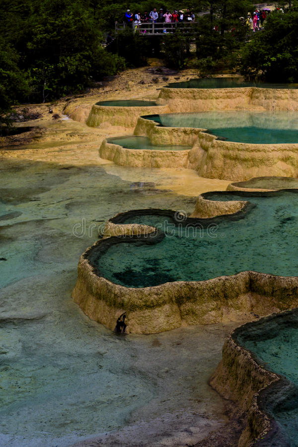 Lavabo colorido de Jiuzaigou en China fotos de archivo libres de regalías