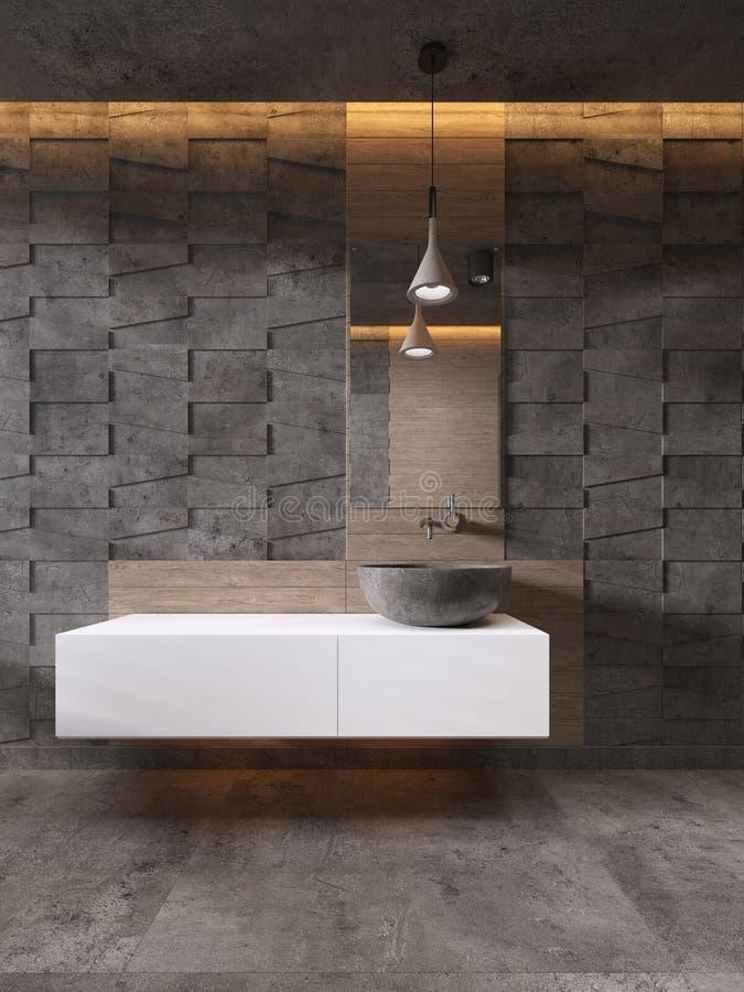 Lavabo de piedra del color blanco de las vanidades del cuarto de baño, estilo contemporáneo stock de ilustración