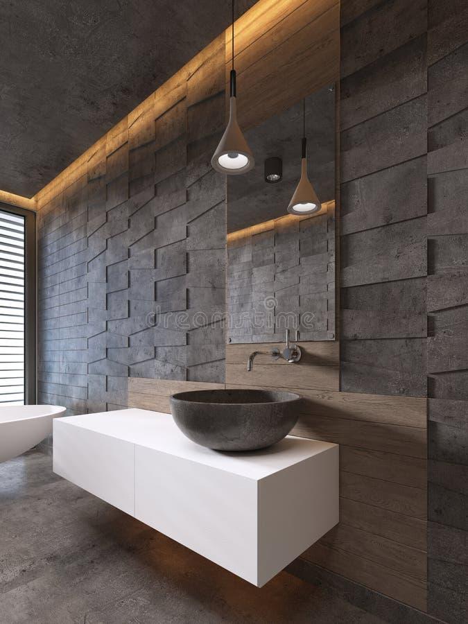 Lavabo de piedra del color blanco de las vanidades del cuarto de baño, estilo contemporáneo ilustración del vector