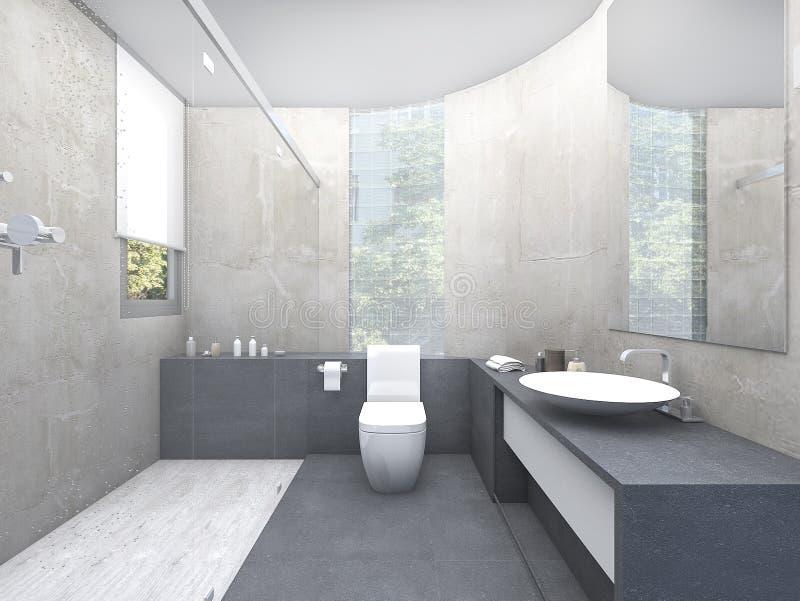 lavabo del hermoso diseño de la representación 3d con el bloque de cristal stock de ilustración