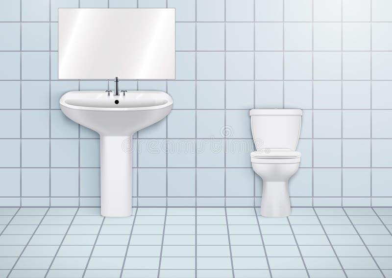 Lavabo del WC con los lavabos y el retrete stock de ilustración