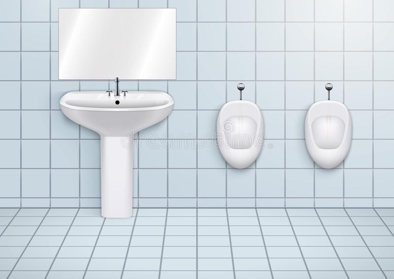 Lavabo del WC con los lavabos y los orinales stock de ilustración