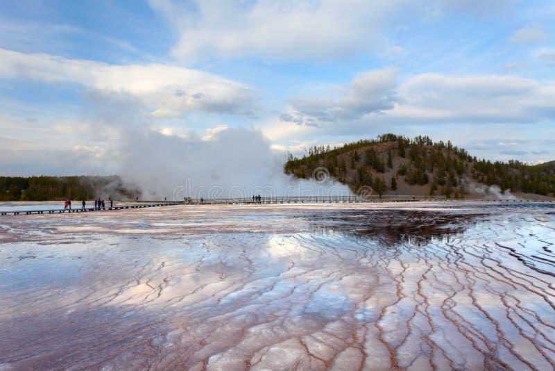 Lavabo intermediario Yellowstone del géiser de la puesta del sol imagen de archivo libre de regalías