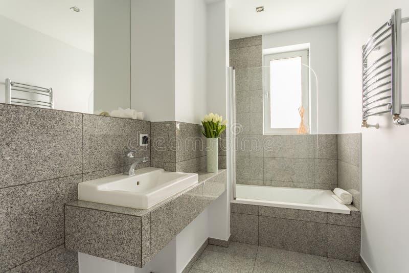 Lavabo minimaliste dans la salle de bains de granit image stock