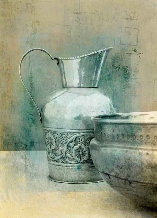 Lavabo y jarra ilustración del vector