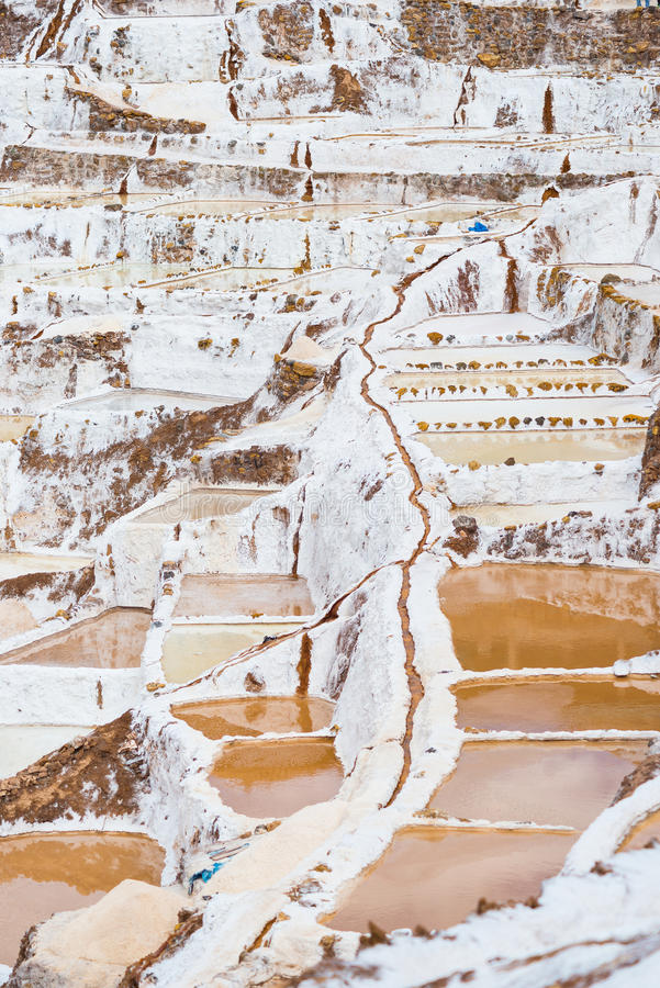 Lavabos colgantes de la sal en los Andes peruanos imagen de archivo