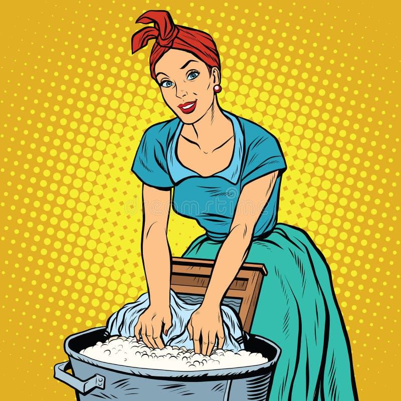 Lavadeira retro da mulher para lavar a roupa ilustração royalty free