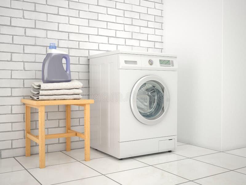 lavadero Lavadora con el detergente y las toallas ilustración del vector