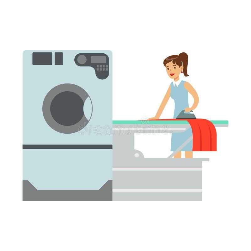 Lavadero que plancha de la mujer, parte de gente que usa las lavadoras automáticas de la lavandería del autoservicio de los ejemp ilustración del vector