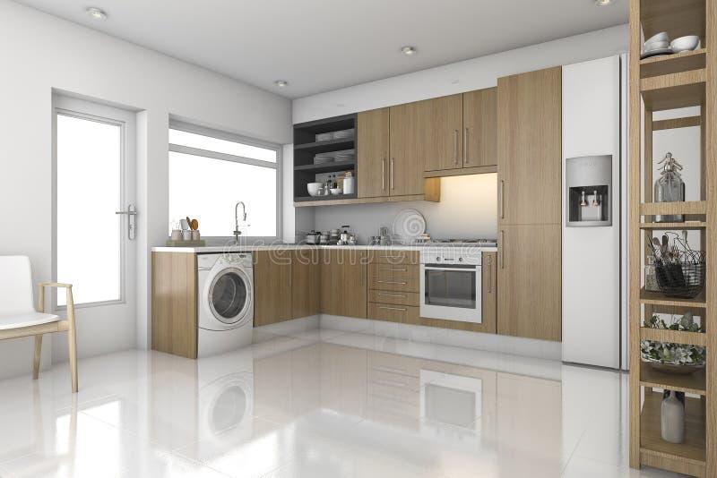 Lavadero y cocina modernos de madera de la representaci n for Cocina y lavanderia juntas