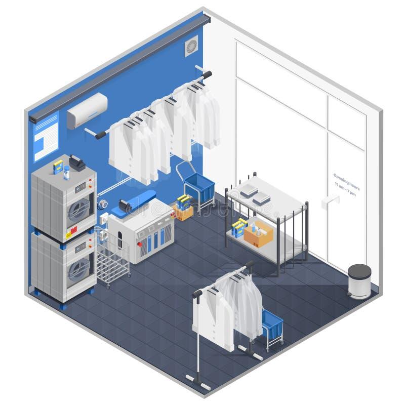 Lavadero y concepto isométrico de la limpieza en seco ilustración del vector