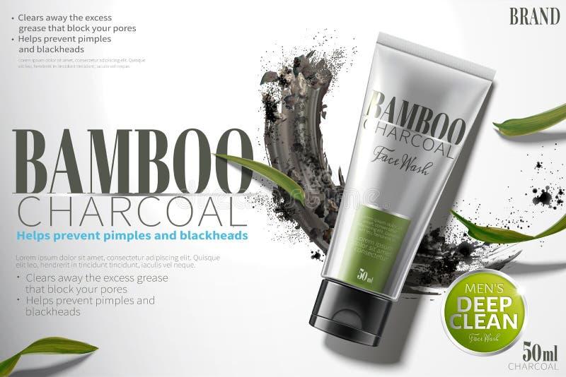 Lavado de bambú de la cara del carbón de leña stock de ilustración