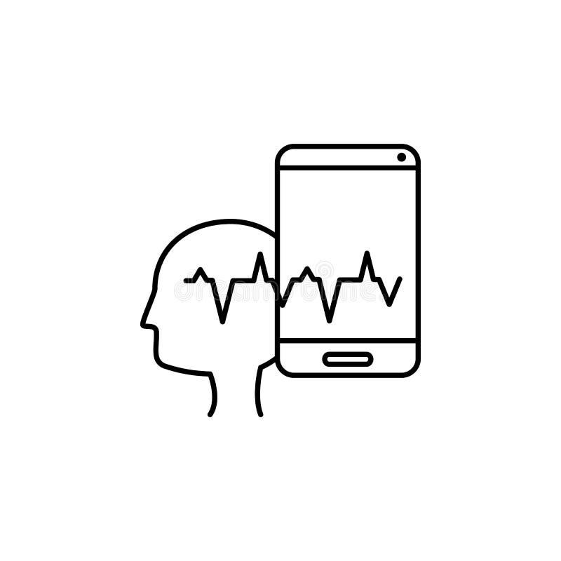Lavado de cerebro, intelectual, icono de onda Elemento de icono de adicto social Icono de línea delgada para el diseño y desarrol stock de ilustración