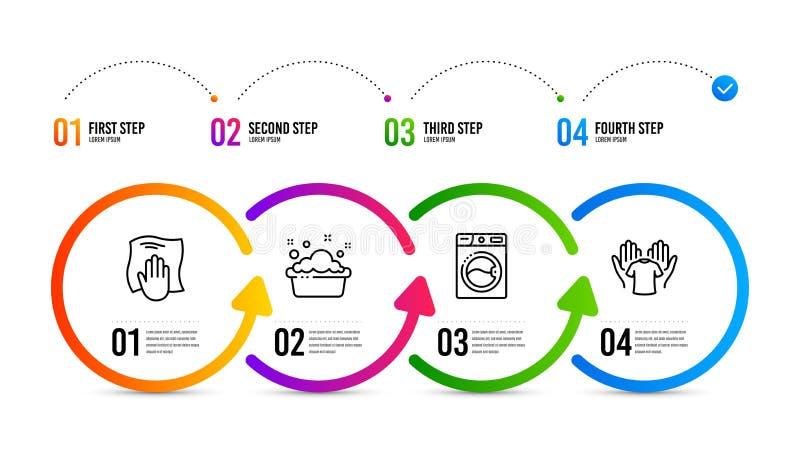 Lavado de la lavadora, de la mano y sistema de los iconos de la camiseta del control El lavadero, lavabo del lavadero, limpia con libre illustration