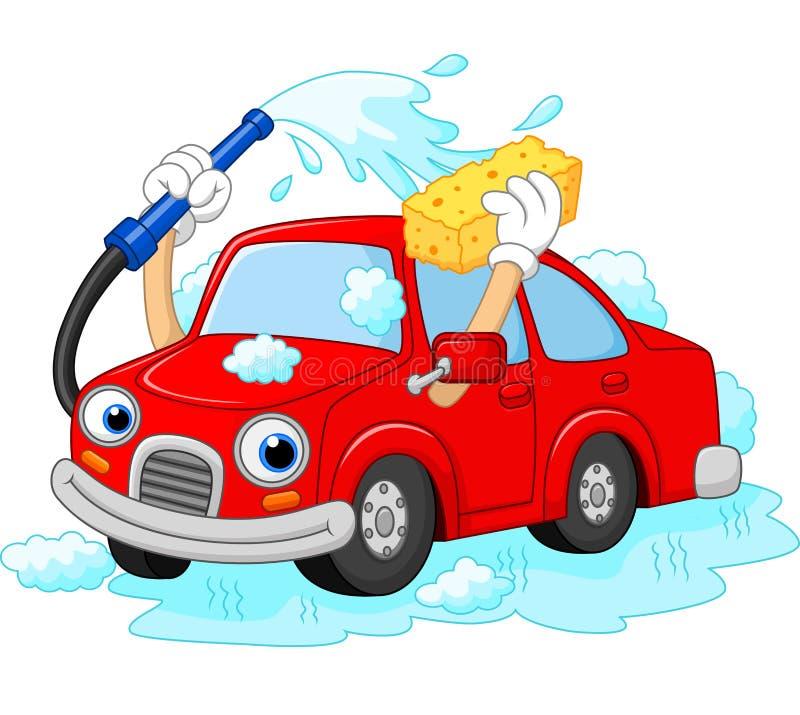 Lavado divertido del coche de la historieta con el tubo y la esponja de agua libre illustration