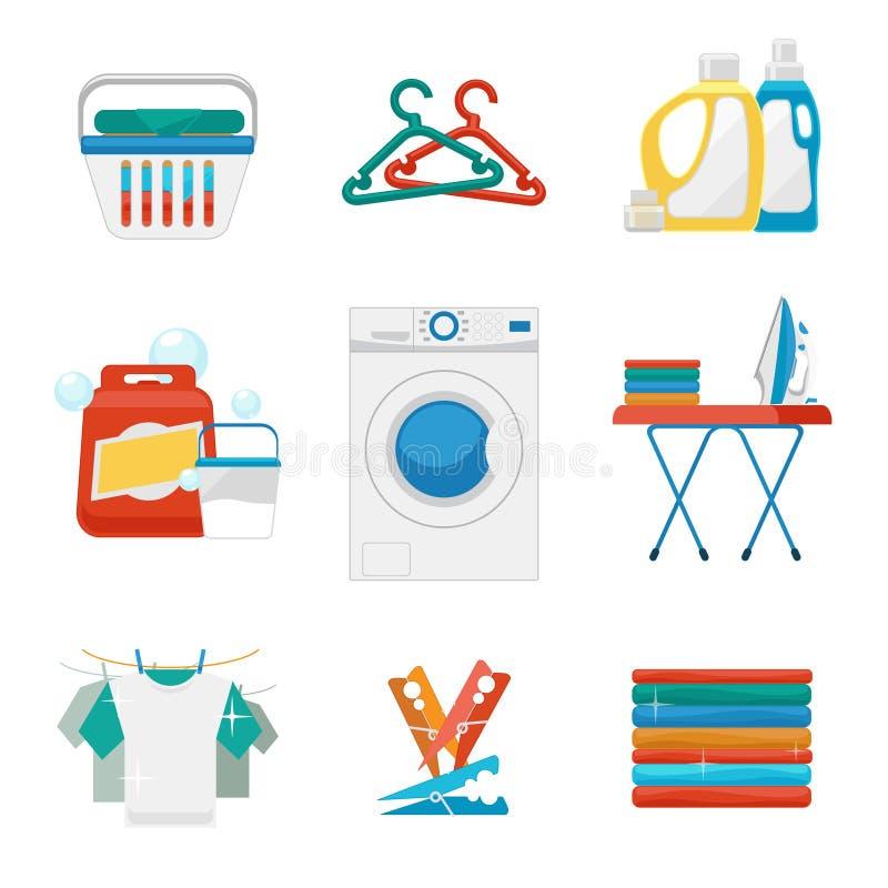 Lavado e iconos planos del lavadero libre illustration