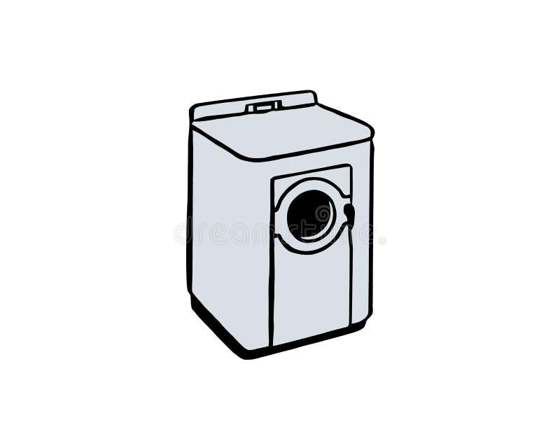 Lavadora automática - clip art retro Muestra del icono de la lavadora para el logotipo, sitio web, app, ui ilustración del vector