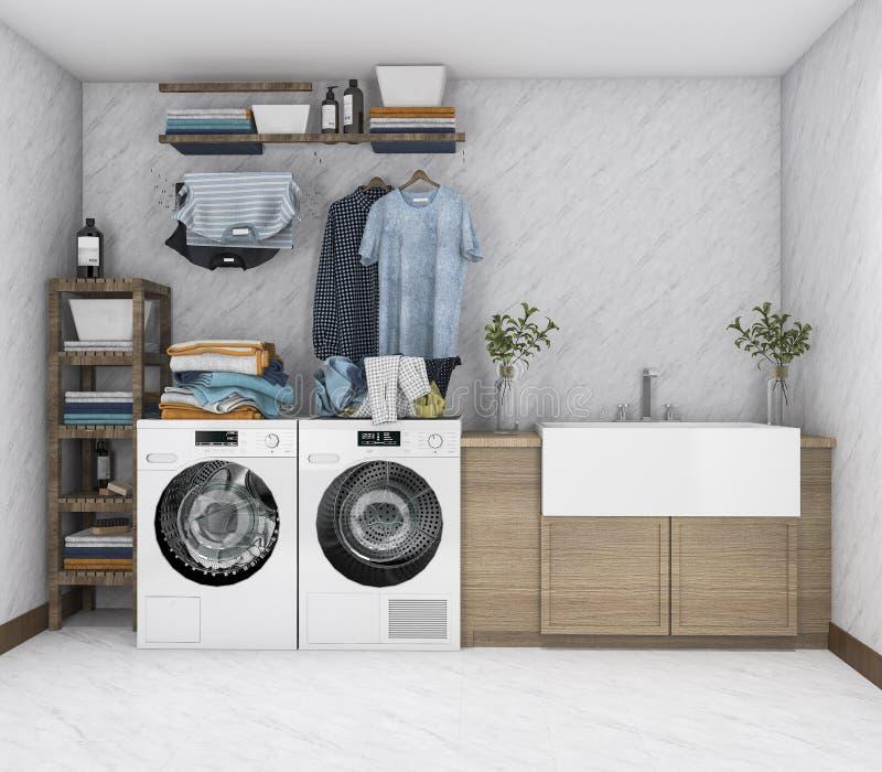 lavadora de la representación 3d en lavadero del vintage stock de ilustración