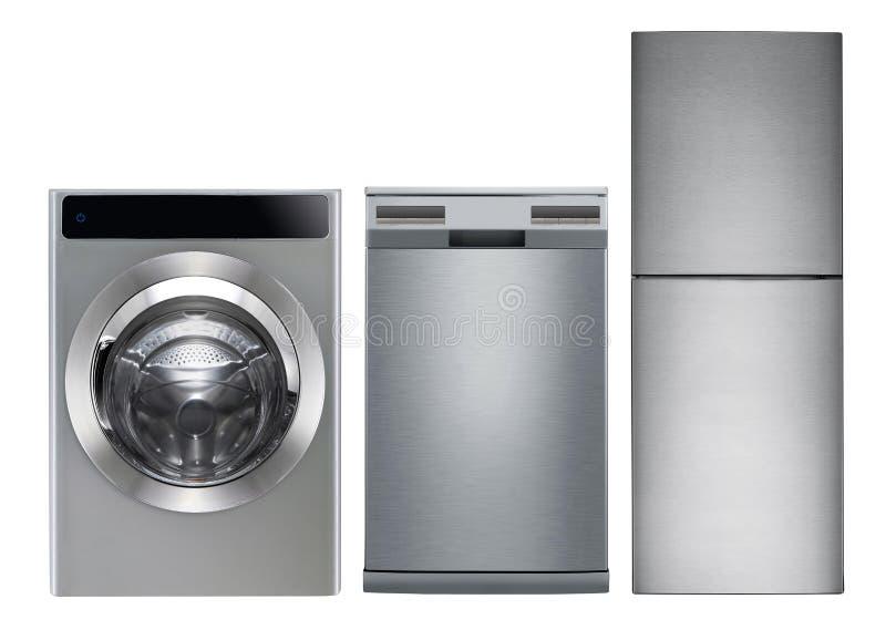 Lavadora, lavaplatos y refrigerador imagen de archivo libre de regalías
