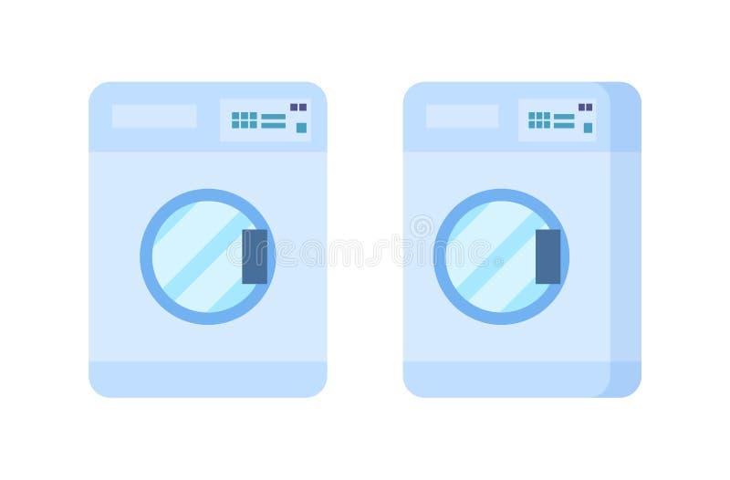 Lavadora moderna, vista delantera y vista lateral Cuarto de baño, muebles ilustración del vector