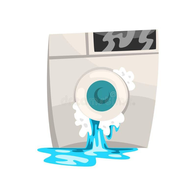 Lavadora quebrada con agua que se escapa, ejemplo dañado del vector de la historieta del aparato electrodoméstico en un fondo bla libre illustration