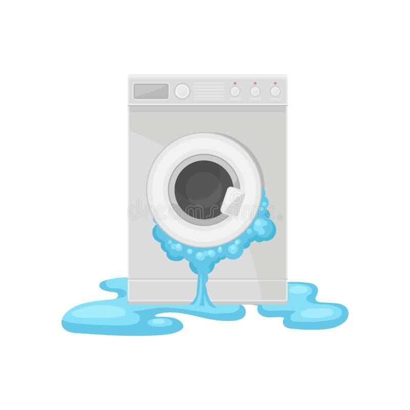 Lavadora quebrada, ejemplo dañado del vector del aparato electrodoméstico en un fondo blanco ilustración del vector