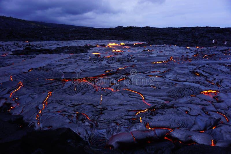 Lavafeld mit neuer Lava in Hawaii lizenzfreies stockbild